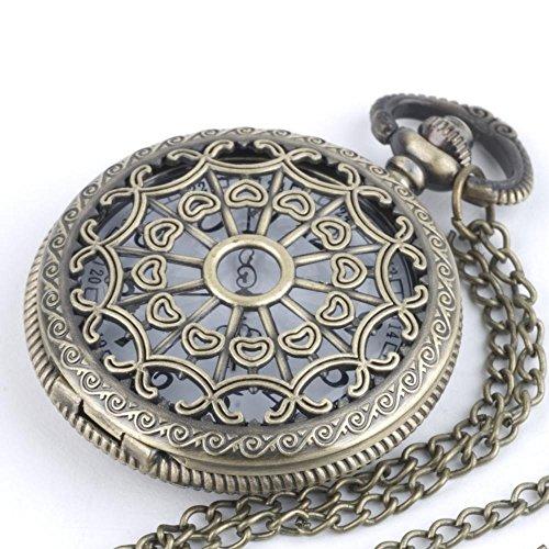81stgeneration Women's Men's Brass 复古风格口袋手表长链项链, 78 cm