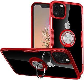 HONTECH 透明手机壳适用于 iPhone 11 Pro Max,透明硬质 PC 保护套带柔软 TPU 边缘,超薄*级防摔保护套带环托 6.5 英寸 2019 红色