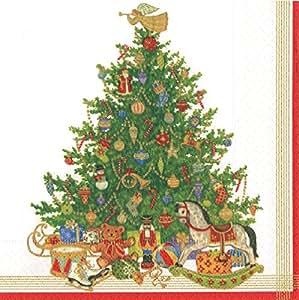 娱乐活动与 caspari OH 圣诞树鸡尾*餐巾纸 象牙色 晚餐