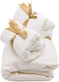 MITI Kidz 平纹细布礼品套装 - 1 条襁褓毯(47 x 47 英寸)和 2 条饱嗝布(10.5 x 23.5 英寸),厚软棉/竹制 4 层,白色,非常适合婴儿注册或婴儿派对礼物