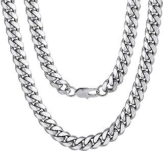 锁链项链 9MM 不锈钢粗密迈阿密古巴嘻哈风格项链男式女式22.8英寸(约57.9厘米)