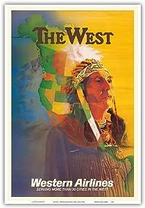 "Pacifica Island Art The West - 美国土著印*安首长 - 西部航空公司 - 古老航空旅行海报 E. Carl Leick 出品,1950 年代 - 艺术大师印刷 13"" x 19"" PRTC9204"