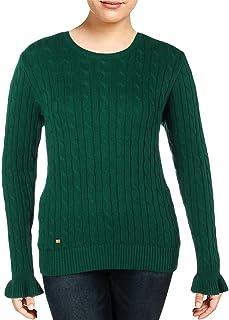 LAUREN RALPH LAUREN 女式 絞花針織喇叭袖套頭毛衣  祖母綠 X-Large