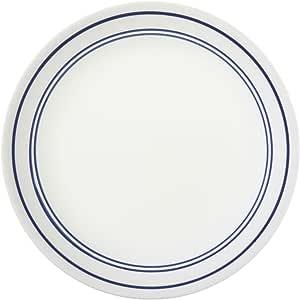 "Corelle Livingware 8.1/2 英寸午餐餐盘,经典咖啡厅蓝色 白色 8 1/2"" 1055630"