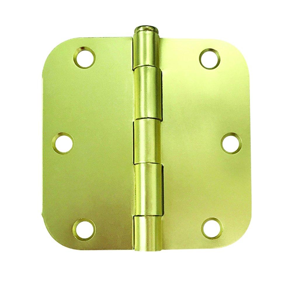 Prime-Line MP10022-1 住宅门铰链,8.89 厘米 x 5/8英寸。 Radius 角,钢,绸缎黄铜,1 个装