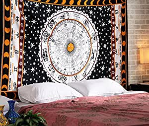 RAJRANG 双星座望远镜锥尾 曼荼罗 波西米亚 凯尔特 印度天体标志 壁挂 纯棉床上用品
