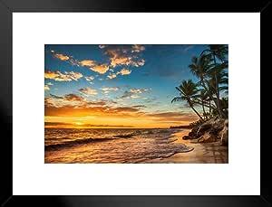 热带岛天堂上的海报 Foundry Sunrise 照片艺术打印 ProFrames 出品 哑光框架海报 26x20 inches 259050