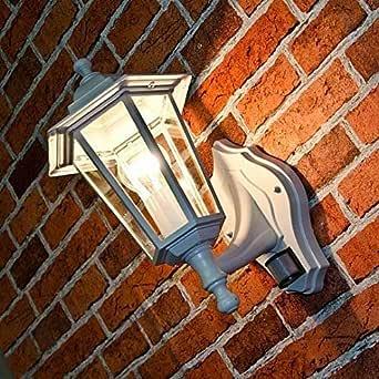 乡村户外壁灯,带运动探测器,白色,传感器可调,E27 IP44 壁灯,大门外壁灯