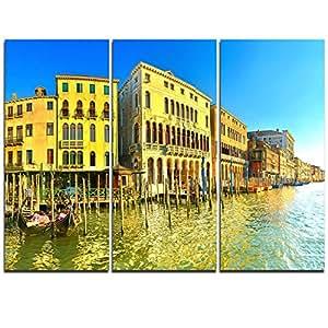 """Designart 黄色刺青大运威尼斯 Cityscape 金属墙壁艺术 黄色 36x28"""" - 3 Panels MT11701-3P"""