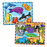 Melissa & Doug 厚实拼图套装 - Safari & Sea Creatures 2 件装,多色