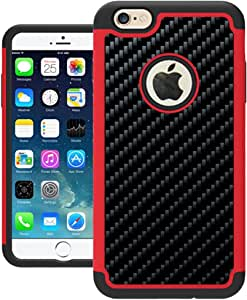 iPhone 6 Plus 手机壳,UrSpeedtekLive iPhone 6s Plus 手机壳【减震】双层耐用硅胶塑料手机壳适用于 iPhone 6 Plus/6s Plus_红色