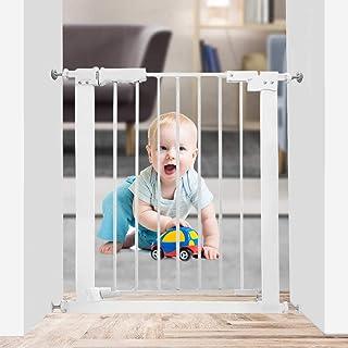 """WAOWAO 狭窄婴儿门自动关闭张力白色金属儿童宠物*门 带压力安装楼梯门 24.02""""-27.95"""""""
