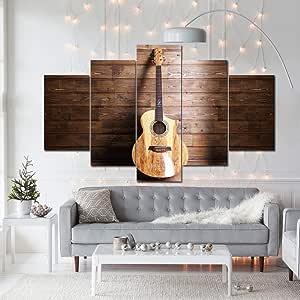 PEACOCK JEWELS 大号优质油画印刷墙艺术海报 5 件/5 件法兰绒墙饰画,家居装饰图片 - 拉伸 Acoustic Guitar on Wood 中 5PiecesAcousticGuitaronWood_M
