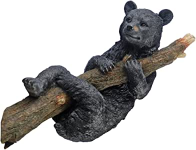 Design Toscano Up a Tree Hanging Black Bear Cub Sculpture 黑色 小号