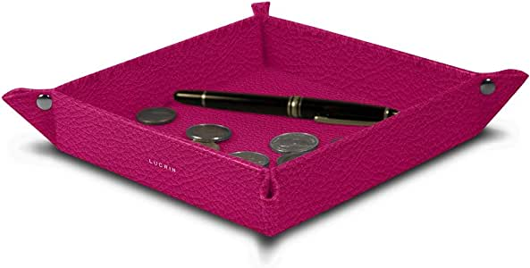 Lucrin - 方形*托盘(8.27 x 8.27 x 1.38 英寸) - 精细皮革 紫红色 PM1005_VCGR_FCS