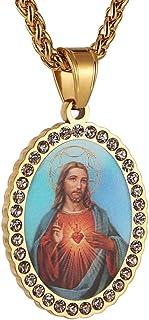 HZMAN 奇迹*牌玛丽母亲婴儿耶稣基督不锈钢镶嵌锆石吊坠项链 55.2 + 5.2 厘米链