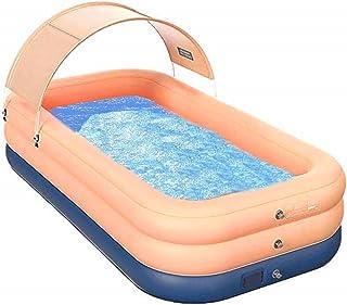 Lovinouse 带遮阳蓬充气泳池,单按钮充气家庭泳池带遮阳篷夏季户外戏水,儿童成人适用,83 x 59 x 27 英寸