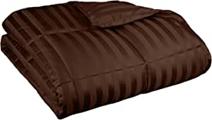 Grand Down All Season Wide Stripes Down Alternative Comforter, Full/Queen, Chocolate
