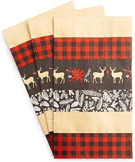 各种圣诞季节性装饰桌面装饰 - 选择桌旗、桌布、纸屑、餐巾、纸杯蛋糕、一次性餐盘(红色黑色格子餐巾)