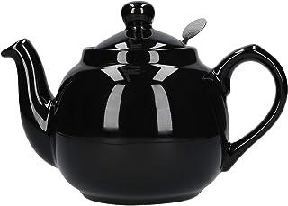 London Pottery 农舍陶器小茶壶,带浸入器,陶瓷,亮黑色,2杯(600毫升)