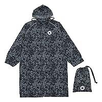 Ogawa 小川 兒童雨衣 CONVERSE 匡威 迷彩圖案 附帶反光條 附帶有褶皺用于背包時調節尺寸 附帶收納袋 黑色 150cm -