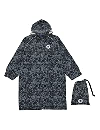 Ogawa 小川 儿童雨衣 CONVERSE 匡威 迷彩图案 附带反光条 附带有褶皱用于背包时调节尺寸 附带收纳袋 黑色 150cm -