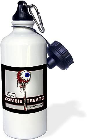 3dRose wb_25575_1 ZOMBIES 僵尸在黑色运动水瓶上处理 1 瓶,白色