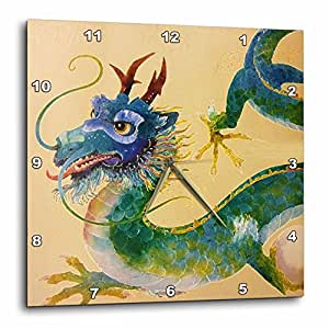 3dRose dpp_35191_3 Green and Blue Dragon-Wall Clock, 15 by 15-Inch