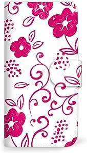 MITAS 智能手机保护壳翻盖型草花可爱  粉色 4_AQUOS SERIE mini (SHV33)