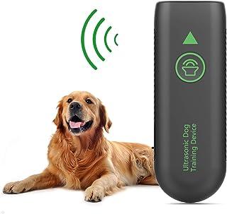 JZORI 防吠控制设备,2 合 1 可充电超声波狗吠止吠器训练辅助器,16.4 英尺(约 41.4 米)户外室内声波止吠器,适用于狗狗,内置充电电池