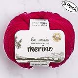 5 Ball La Mia%100 美利奴羊毛,共 8.8 盎司 每件 1.76 盎司(50 克)/ 191 年(175 米),细腻,运动,优质柔软天然纱线, Pink - L058 5 件装 Lamia-Merino