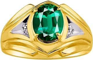 RYLOS 男式戒指 椭圆形宝石 & 真正闪亮钻石 14K 黄金镀银 .925-9X7MM 彩色宝石