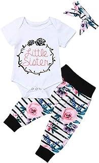 新生女婴可爱姐妹服装姐妹字母套装连衫裤 + 印花裤套装 + 头巾 + 帽子 秋冬衣服