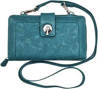 ili New York 6305 皮革压花智能手机斜挎钱包,RFID 屏蔽衬里 牛仔裤 蓝色 单一尺寸