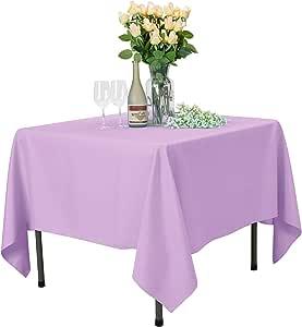 VEEYOO 圆形长方形纯色涤纶桌布婚礼餐厅聚会 紫色(Lavender) Square-85x85 inch VYZB1607PES85CP1S97-FBA
