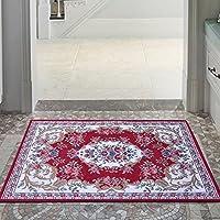 易普美家 入户门垫 地垫脚垫 地中海美式欧式垫子 地垫 地毯 机洗客厅地垫 深红 60×90cm