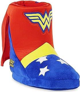WONDER WOMAN DC COMICS 女孩毛绒靴装便鞋 w/附赠披肩(幼儿 7-8 码)