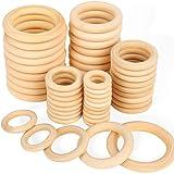 Bestsupplier 50 件未抛光实木戒指工艺、戒指吊坠和连接器首饰制作,5 种尺寸