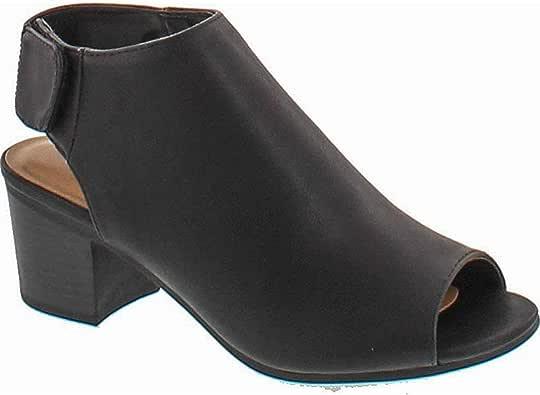 Soda 女士 Harlyn-S 人造革镂空露趾短靴 黑色 Pu 7.5 M US