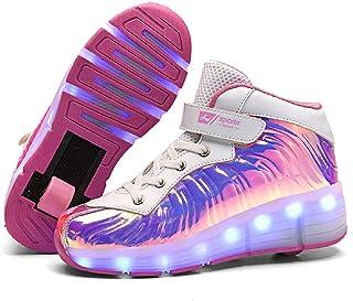 SDSPEED 儿童滚轮滑板鞋女孩男孩滚轮鞋滚轮运动鞋带轮子 LED