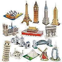 CubicFun 乐立方 3D立体拼图玩具 迷你建筑系列 十五件套装 二星难度(新老包装更替 随机发货) S3001-15h