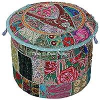 Stylo Culture 棉质大坐垫套拼接刺绣 Hassock 40.64cm Ottoman 凳套*花卉脚凳地板垫套民族装饰
