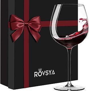 ROVSYA 水晶酒杯 2 件套,21 盎司(约 595.3 克)奢华包装,非常适合婚礼、葡萄酒品尝、生日礼物