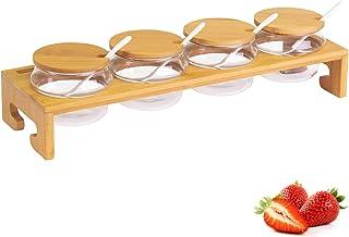 Westmark 果酱 / 香料架,13 件套,1 个支架 + 4 个杯子 + 4 个杯子 + 4 个勺子,宽度:38.5 厘米,竹 / 玻璃/陶瓷,Tapas + 朋友,浅棕色/白色,69902260