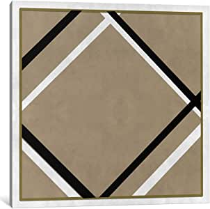 iCanvasART MA277-1PC6-12x12 Modern Art-Lozenge with Four Lines and Gray Canvas Print by iCanvas, 12 x 12 x 1.5-Inch