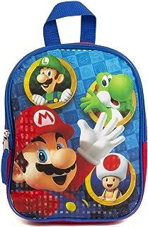 *马里奥迷你背包适合儿童和幼儿 - 10 英寸,蓝色和红色