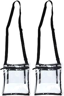 Youngever 透明斜挎钱包,体育场认证透明乙烯基袋,可调节斜挎肩带,额外内袋