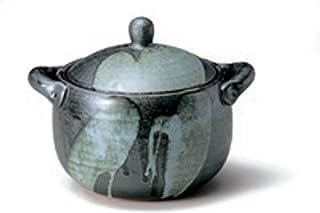 佐治陶器 米饭锅 黑色 17cm 万古烧 饭锅 2合 天目釉流 33-616