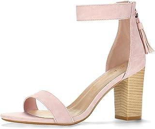 allegra K 女式流苏脚踝绑带高跟凉鞋