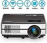 蓝牙 WiFi 便携式迷你投影仪 2800 流明支持全高清 1080p,无线 Airplay LED 液晶智能多媒体 Pico 投影仪适用于智能手机电视棒 PS4 HDMI VGA AV USB 户外电影游戏